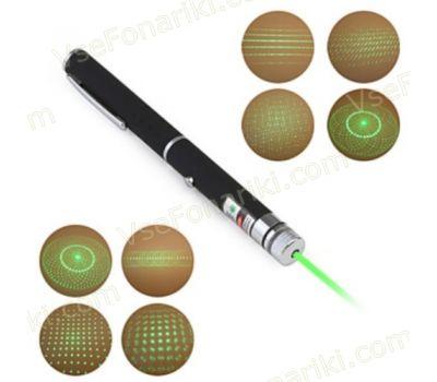 Зелёная лазерная указка с 5 насадками