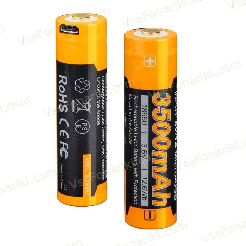 Фото 2 аккумулятора Fenix 18650 3500mAh USB