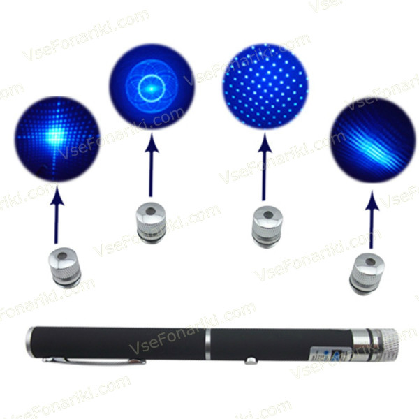 Фото Синяя лазерная указка с насадками - 2