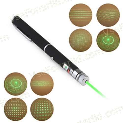Фото Зеленая лазерная указка с 5 насадками - 5
